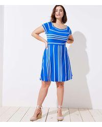 LOFT - Blue Plus Striped Crossover Back Flare Dress - Lyst