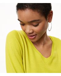 LOFT - Yellow Refined V-neck Tunic Sweater - Lyst