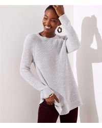 LOFT - Gray Petite Ribbed Crossover Back Sweater - Lyst