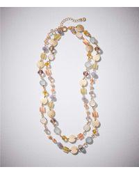 LOFT - Metallic Double Strand Stone Disc Necklace - Lyst