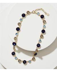LOFT - Metallic Mixed Crystal Necklace - Lyst