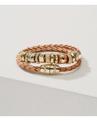 LOFT | Metallic Leather Charm Bracelet | Lyst