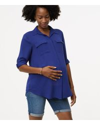 LOFT - Blue Maternity Utility Blouse - Lyst