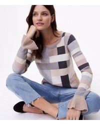 LOFT - Multicolor Blocked Ruffle Cuff Sweater - Lyst