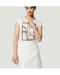 LOFT - White Tall Plaid Jacquard Shift Skirt - Lyst