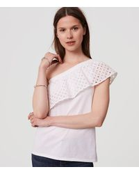 2d88c6eb2683cd Lyst - LOFT Eyelet One Shoulder Top in White