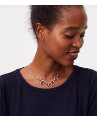 LOFT - Metallic Pave Stone Necklace - Lyst