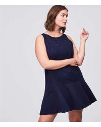 LOFT - Blue Plus Floral Lace Flippy Dress - Lyst