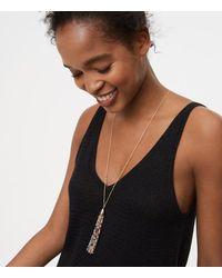 LOFT - Metallic Beaded Tassel Necklace - Lyst