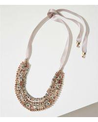 LOFT - Metallic Ribbon Multistrand Beaded Necklace - Lyst