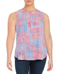 NYDJ - Multicolor Plus Print Pleat-back Blouse - Lyst