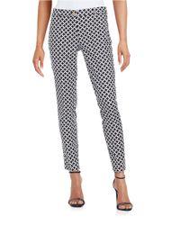 MICHAEL Michael Kors - Black Stretch Cotton Geometric-print Miranda Ankle Pants - Lyst