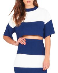 Kendall + Kylie   Blue Short-sleeve Cropped Top   Lyst