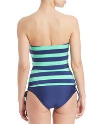 Splendid - Blue Striped Bandeau Tankini Top - Lyst