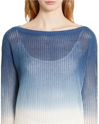 Lauren by Ralph Lauren | Blue Ombre Ribbed Knit Sweater | Lyst