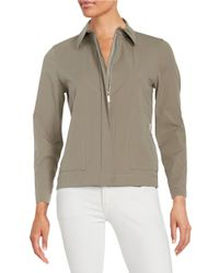 Lafayette 148 New York | Gray Cassidy Stretch-cotton Topper | Lyst
