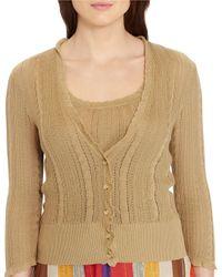 Lauren by Ralph Lauren - Brown Plus Able-knit Pointelle Cardigan - Lyst
