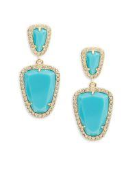 ABS By Allen Schwartz | Blue Going Coastal Turquoise & 12k Goldplated Double Drop Earrings | Lyst
