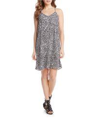 Karen Kane | Gray Leaf Print A-line Dress | Lyst