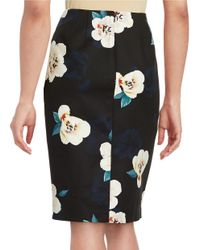 Lord & Taylor - Black Petite Moonlight Floral Pencil Skirt - Lyst