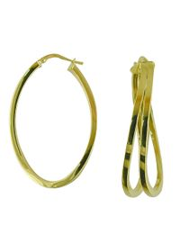 Lord & Taylor | Metallic 14k Yellow Gold Polished Hoops | Lyst