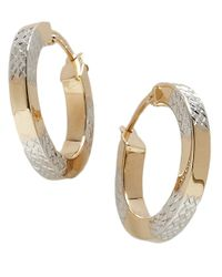 Lord & Taylor | Metallic 14k Gold Two-tone Hoop Earrings | Lyst