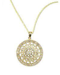 Effy   Metallic D Oro 14 Kt Gold Diamond Pave Medallion Pendant Necklace   Lyst
