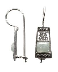Lord & Taylor | Metallic Sterling Silver And Marcasite And Jade Drop Earrings | Lyst