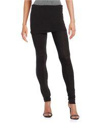 Splendid | Black Fold Over-waist Leggings | Lyst