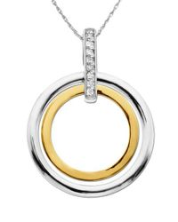 Lord & Taylor - Metallic Sterling Silver And 14k Yellow Gold Diamond Pendant Necklace - Lyst