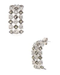 Lord & Taylor - Metallic Sterling Silver And Marcasite Glitz Drop Earrings - Lyst