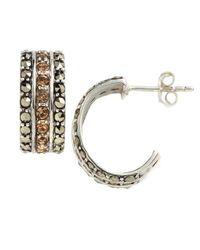 Lord & Taylor - Metallic Embellished Cuff Hoop Earrings - Lyst