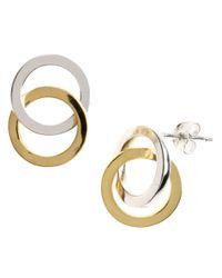 Lord & Taylor | Metallic Sterling Silver Interlocking Hoop Stud Earrings | Lyst