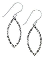 Lord & Taylor - Metallic Sterling Silver And Marcasite Open Marquise Drop Earrings - Lyst