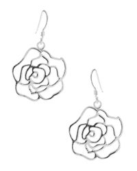 Lord & Taylor - Metallic Sterling Silver Rose Earrings - Lyst