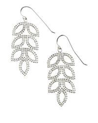 Lord & Taylor | Metallic Sterling Silver Mesh Leaf Drop Earrings | Lyst