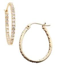 Lord & Taylor - Metallic Pave Hoop Earrings - Lyst