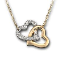 Swarovski - Metallic Gold Tone And Crystal Double Heart Necklace - Lyst