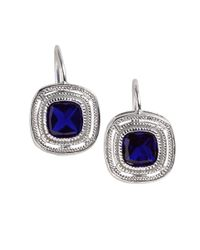 Lord & Taylor | Blue Bezel-cut Cubic Zirconia Earrings | Lyst