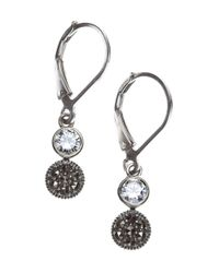 Judith Jack | Metallic Marcasite And Crystal Double Drop | Lyst