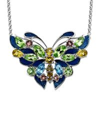 Lord & Taylor | Green Multi-stone Butterfly Necklace In Sterling Silver | Lyst