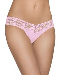 Hanky Panky - Pink Lace Trim Thong - Lyst