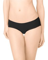 Calvin Klein | Black Lace-trimmed Stretch Hipster Panties | Lyst