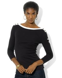 Lauren by Ralph Lauren | Black Three-quarter-sleeved Boatneck Shirt | Lyst