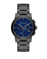 Burberry | Gray Round Stainless Steel Chronograph Watch for Men | Lyst