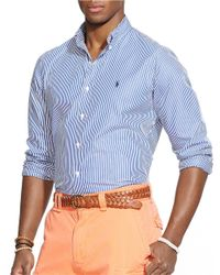 Polo Ralph Lauren | Blue Striped Poplin Shirt for Men | Lyst