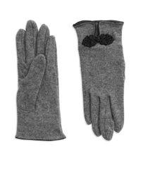Lauren by Ralph Lauren | Gray Rosette Wool-blend Gloves | Lyst