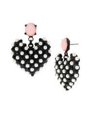 Betsey Johnson | Black-tone Faux Pearl Heart Earrings | Lyst