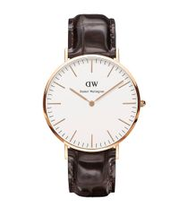 Daniel Wellington | Brown Classic York Rose Gold And Embossed Leather Strap Watch, 40mm | Lyst