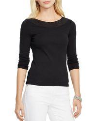Lauren by Ralph Lauren | Black Pointelle-knit Cotton Top | Lyst
